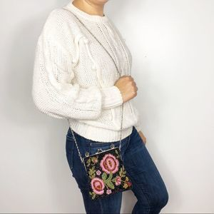 VINTAGE | Floral Beaded Mini Crossbody Clutch